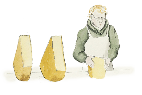 illustration of cheese shop employee